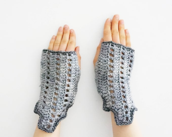 Gray Art Deco Style Arm Warmers, Architectural Design, Hand Warmers from the ART-chitecture Collection by Valerie Baber Designs.