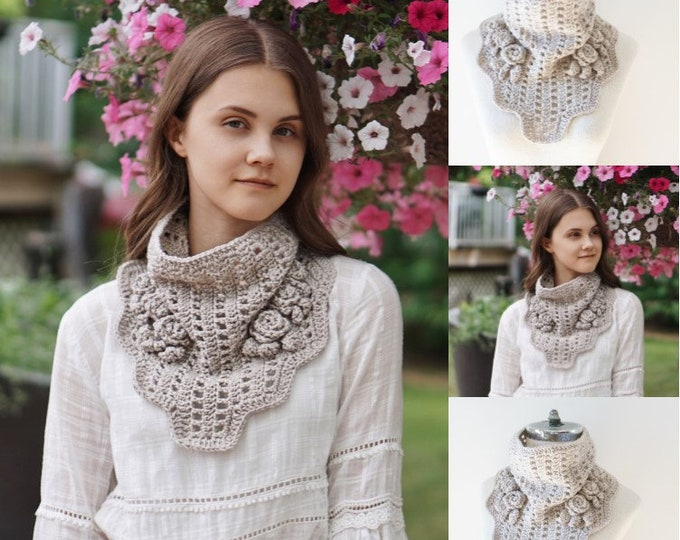 Elegant Rose Infinity scarf in ivory, READY to SHIP, Rose scarf, unique scarf, ivory scarf, merino wool scarf, handmade scarf, scarf