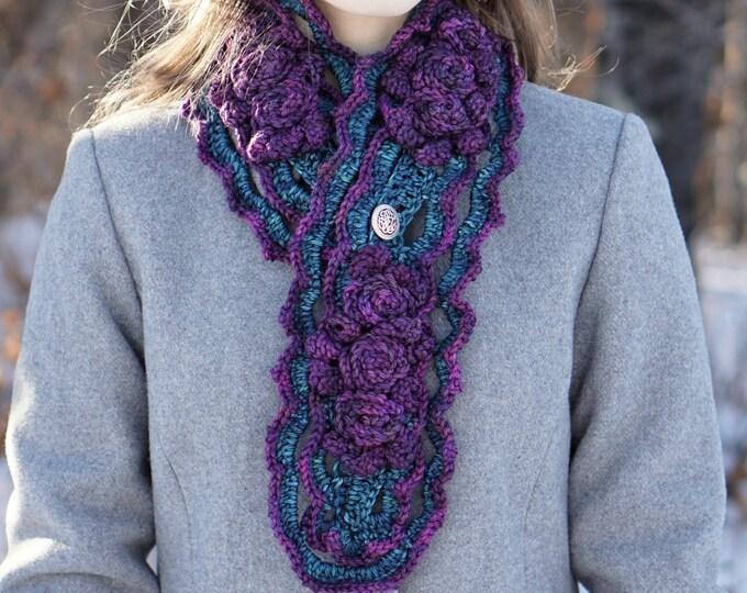 Crochet Pattern: Elegant Rose Scarf crochet pattern, rose scarf pattern, crochet pattern, scarf crochet pattern