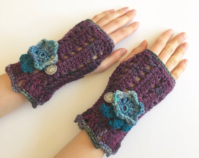 Floral arm warmers in purple with blue flowers, lace hand warmers, choose your colour, READY TO SHIP, hand warmers, cuff