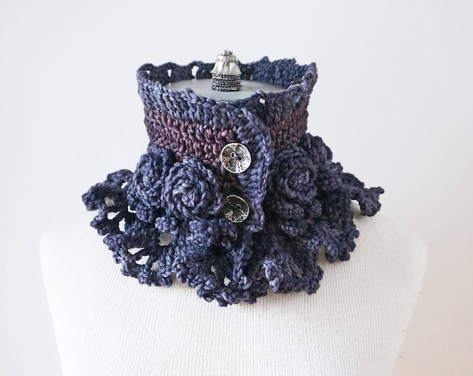 Elegant Rose scarf, Deep Purple, Rose Lace Scarf, READY to SHIP, merino wool, other colours, gift for her, woman's scarf