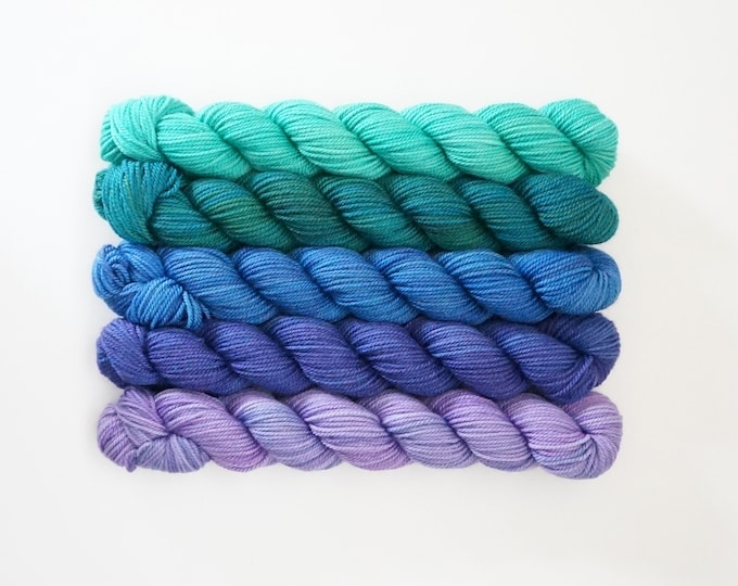 Blue Purple Sock Yarn, Party of Five mini skeins, Tough Love Sock Yarn, Sweetgeorgia Yarns, Aurora colour way of blues, purple, green