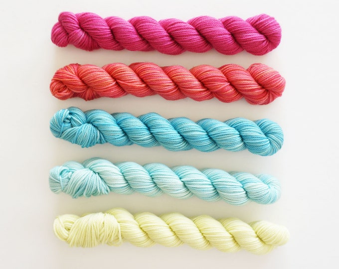 Party of Five yarn by Sweetgeorgia yarns Candy Shop colour set, in soft merino wool mini skein set of verigated colours 3 ply sock yarn