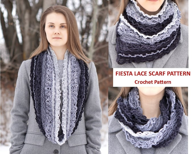 Fiesta Lace Scarf crochet Pattern, crochet pattern, fingerling/sock weight yarn, scarf pattern, gray scarf