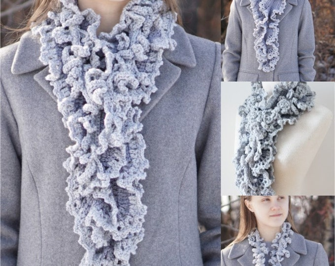 Gray Ruffle Scarf with Vine Accent scarf, FREE SHIPPING, Long version, handmade scarf in gray, handpainted Merino Wool, Crochet Scarf