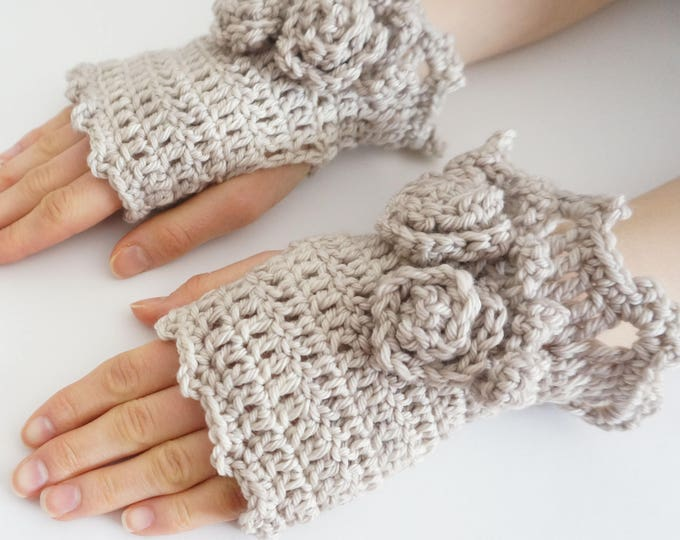 Rose Hand Warmers in Ivory, MADE TO ORDER, Rose Onie Collection, hand painted merino wool, Pass it Forward Collection