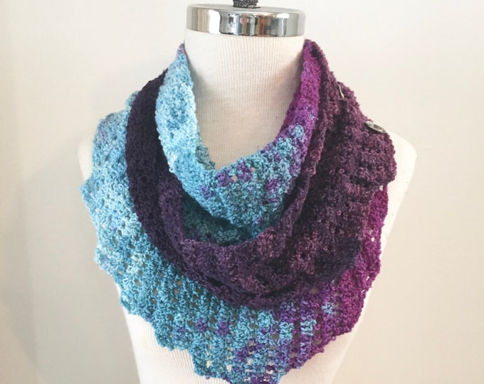 Purple Blue triangular wrap scarf, free shipping, hand painted merino wool, OOAK, purple blue lace scarf, long lace scarf, purple scarf