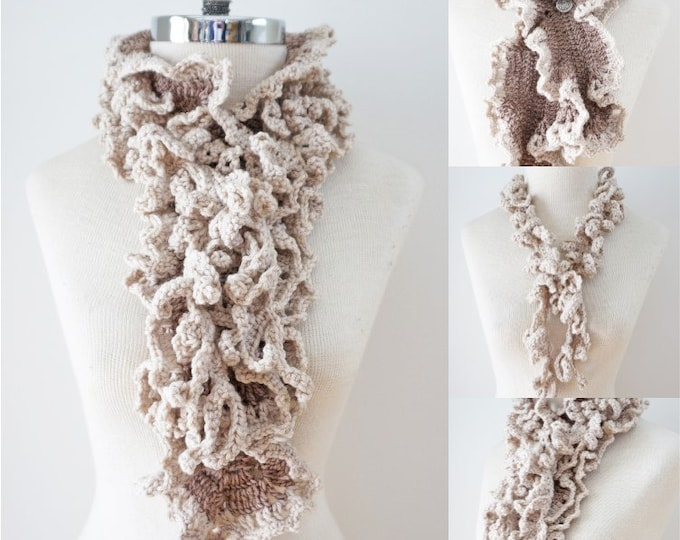 Ivory Beige Ruffle Scarf with Vine Accent scarf, handmade scarf in beige, hand painted Merino Wool, Crochet Scarf