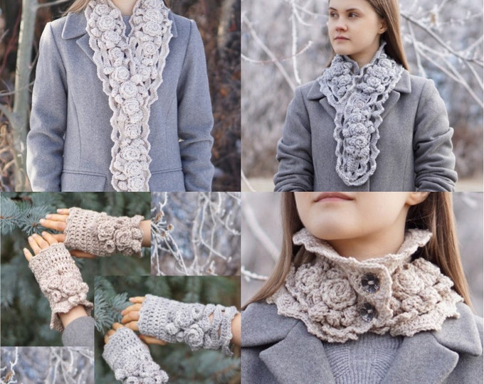 Crochet Patterns: Includes 4 patterns, 3 different Elegant Rose scarf patterns and 1 Elegant Rose hand and arm warmer pattern, 4 patterns