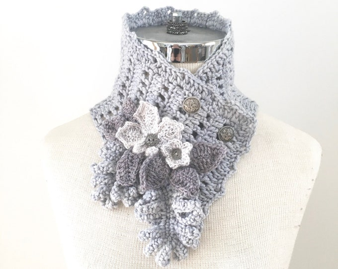Floral Lace Scarf, one of a kind, light gray scarf with floral embellisments of various leaves and a blossom, gray scarf, elegant scarf