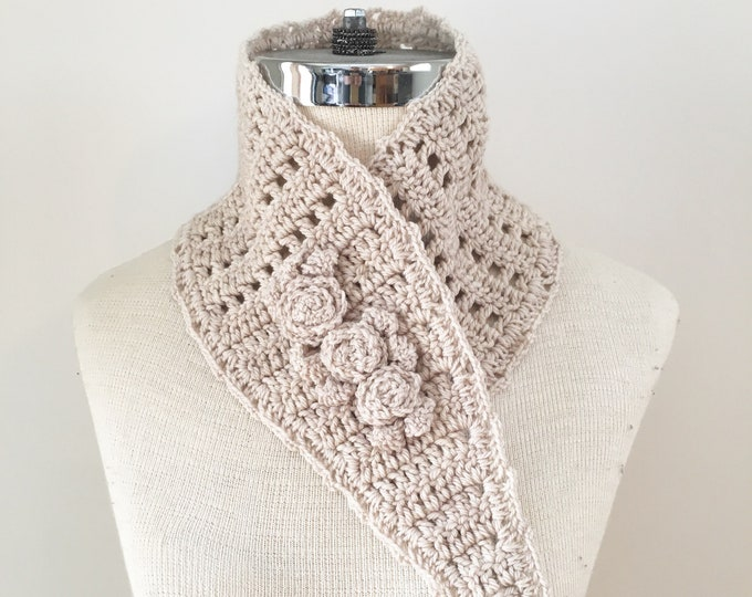 Rose Neck Warmer scarf, ivory, READY to SHIP, rose scarf, scarf, woman's scarf,