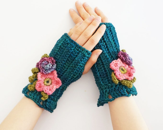 Floral hand warmers in beautiful teal blue, arm warmers, floral arm warmers, blue hand warmers, Ready to ship,