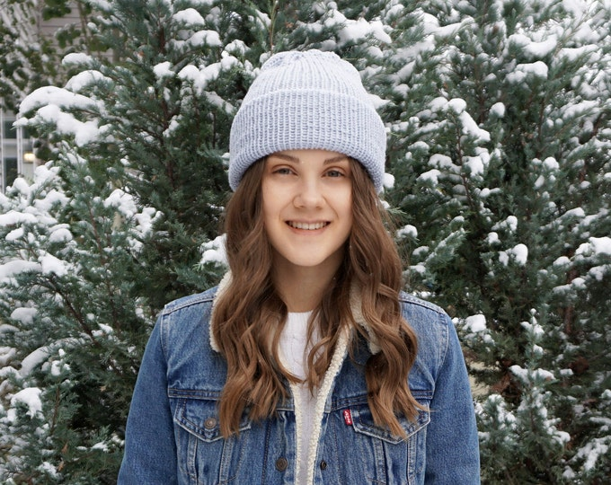 Classic Knit hat by Joyful Knits available in blue soft merino wool, classic beanie hat, toque, winter hat, merino wool hat, woman's hat