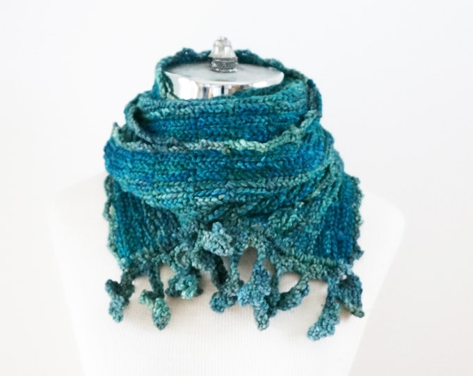 Blue Lace Scarf, Free Shipping, Teal Blue soft merino wool, ONE ONLY, Ready to ship, elegant lace scarf, beautiful leaf trim, scarf