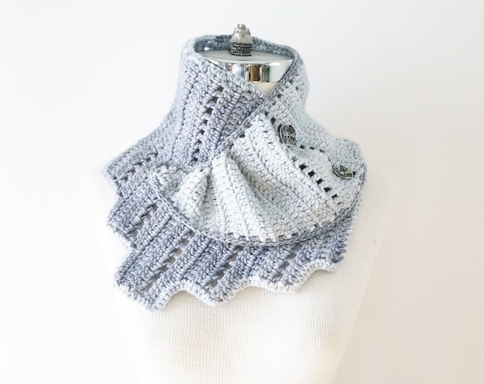 Gray Wrap Scarf, Art Deco Wrap Scarf, Architectural Scarf from the ART-chitecture Collection, merino wool scarf, cowl scarf, gray scarf