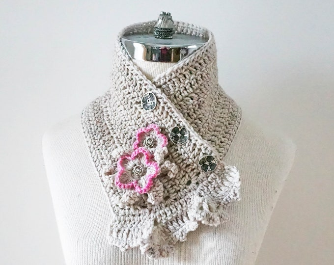 Wild Rose scarf, Ivory rose scarf, rose scarf, READY to SHIP, Ivory pink scarf with rose accents, merino wool, silk, crochet scarf