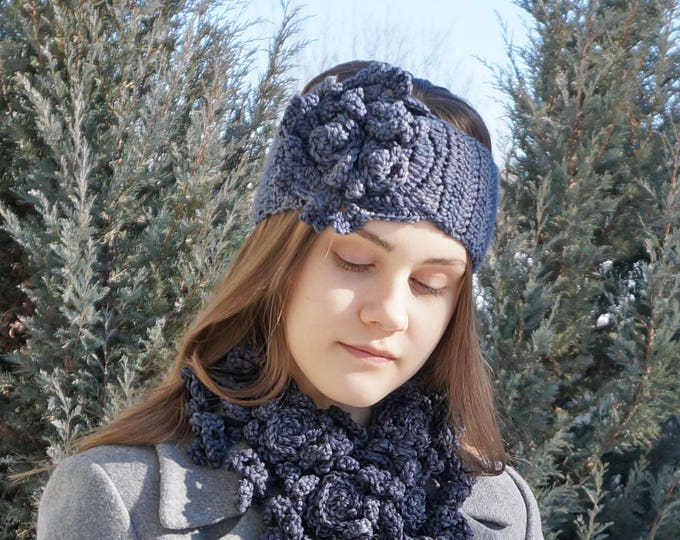 Rose ear warmer in dark gray, READY TO SHIP, made with hand painted merino wool, gray ear warmer, ear warmer, woman's ear warmer