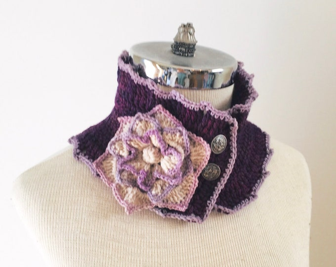 Floral scarf, purple and ivory floral scarf, Collar scarf floral scarf, ready to ship Woman's Scarf,