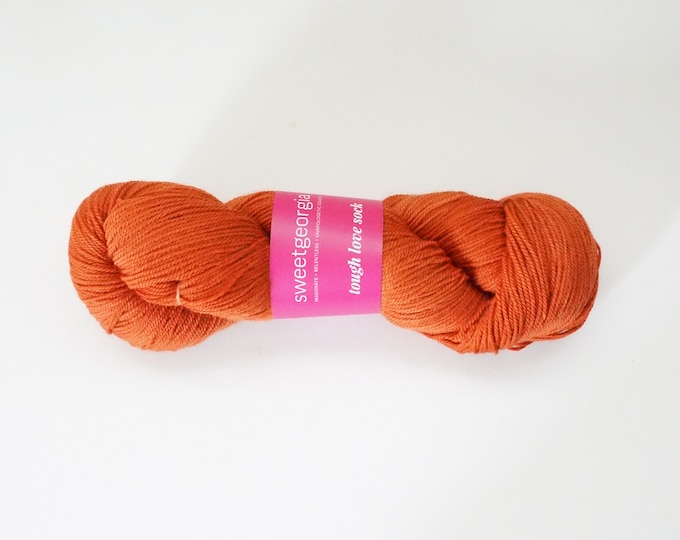Orange Merino Wool Yarn, Fingerling Sock Yarn, Orange, hand painted yarn, orange merino wool, SweetGeorgia Tough Love Sock yarn,