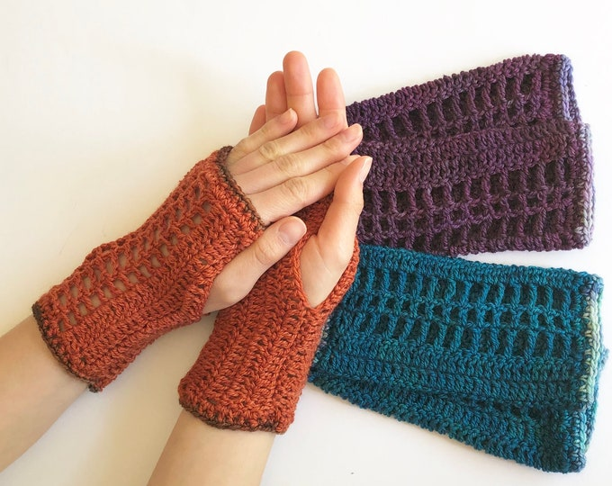 Lace arm warmers in orange, blue, purple lace hand warmers, choose your colour, READY TO SHIP, hand warmers, cuff