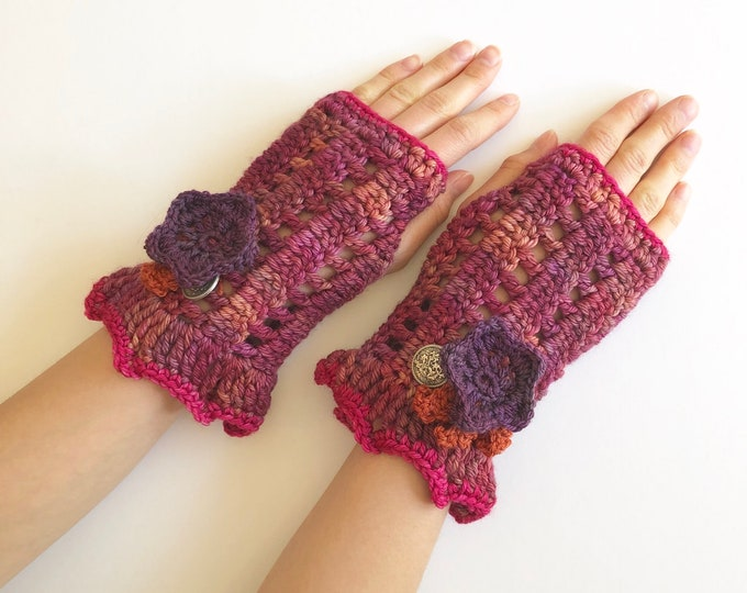 Floral arm warmers in pink with purple flowers, lace hand warmers, choose your colour, READY TO SHIP, hand warmers, cuff