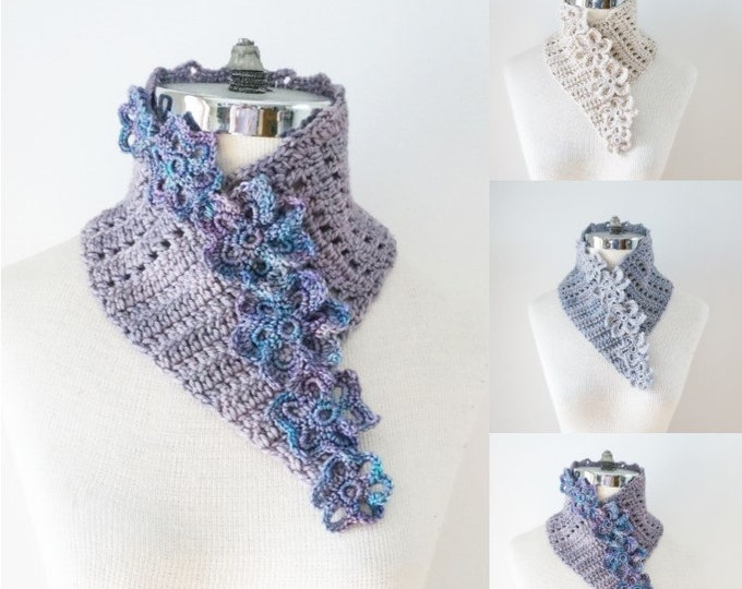 Floral Eyelet Scarf, available in purple, gray and ivory, READY to SHIP, elegant lace scarf, floral scarf, luxurious scarf, floral scarf