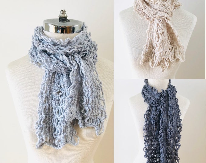 Contemporary Lace scarf in 3 colours ivory, light gray and dark gray, merino wool scarf, Modern scarf, unique scarf, Lace scarf, scarf