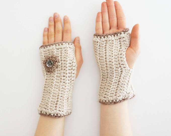 Heart arm warmers in ivory Love Yourself hand warmers with a heart, I love You arm warmers, cuff