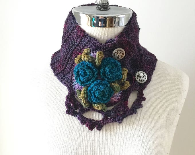 Sale Rose Scarf in purple, blue, green. Teal blue roses to accent this beautiful scarf.  READY TO SHIP.