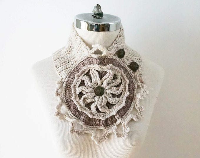 Ivory Scarf with a Architectural Rose Window design from the ART-chitecture Collection, merino wool scarf, cowl scarf, one of a kind scarf