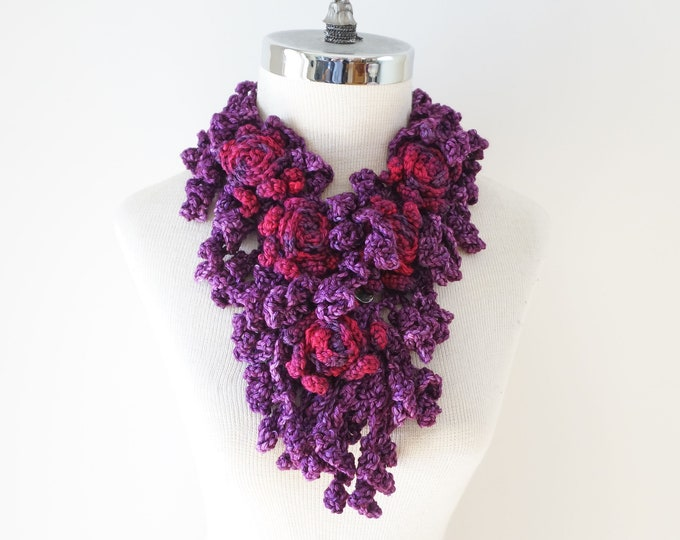 Purple Rose Onie Scarf, Free Shipping, purple, pink, Rose Scarf, READY to SHIP, one only, scarfSculptured Lace Scarf
