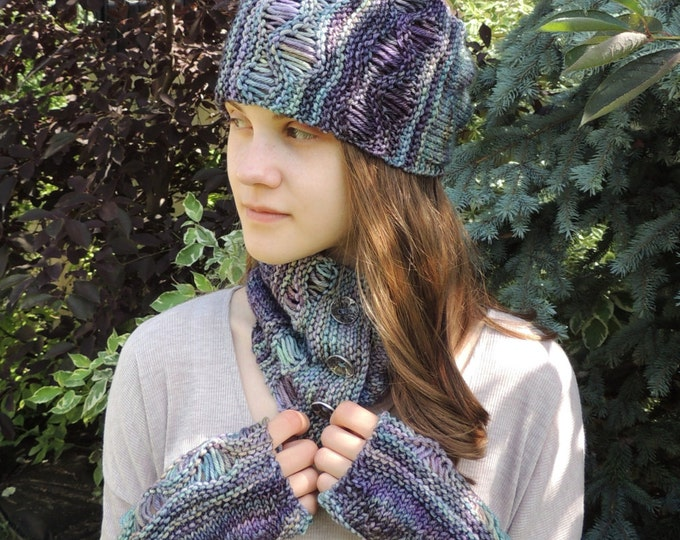 Knitting Pattern: Gentle Waves Cowl Collar Scarf, Ear Warmer & Fingerless Gloves, Knitting, Pattern, Gentle Waves essence, Scarf Pattern