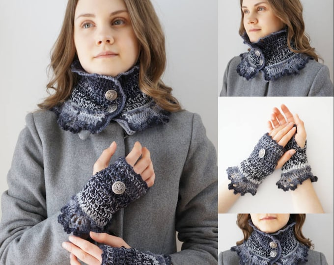 Gradient Scarf and Hand Warmer Crochet Pattern, crochet pattern, fingerling/sock weight yarn, uses Party of Five yarn sets, scarf pattern