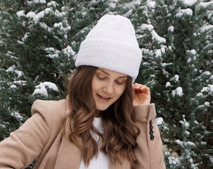 Classic Knit hat by Joyful Knits available in white soft merino wool, classic beanie hat, toque, winter hat, merino wool hat, woman's hat