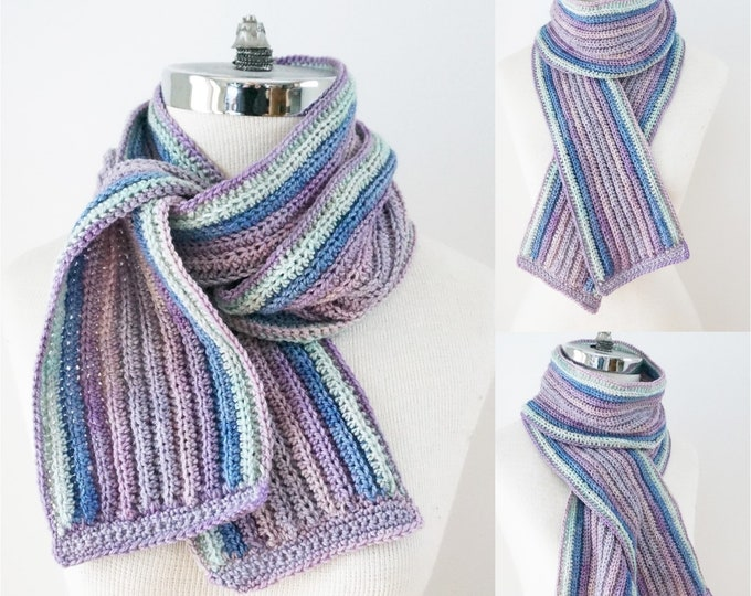 Classic Crochet Ribbed Scarf pattern, perfect for Party of Five mini skeins or sock yarn, long scarf, crochet scarf pattern, scarf pattern