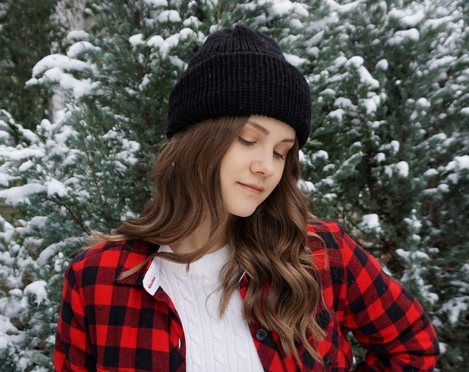 Classic Knit hat by Joyful Knits available in black soft merino wool, classic beanie hat, toque, winter hat, merino wool hat, woman's hat