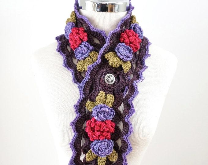 Sales Elegant Peony Rose Scarf in a Purple, Pink, Green, handpainted Merino Wool, Crochet Scarf, Floral scarf, peony scarf