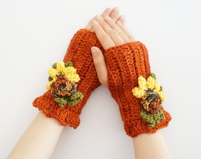 Floral hand warmers in beautiful orange , arm warmers, floral arm warmers, blue hand warmers, Ready to ship, handmade