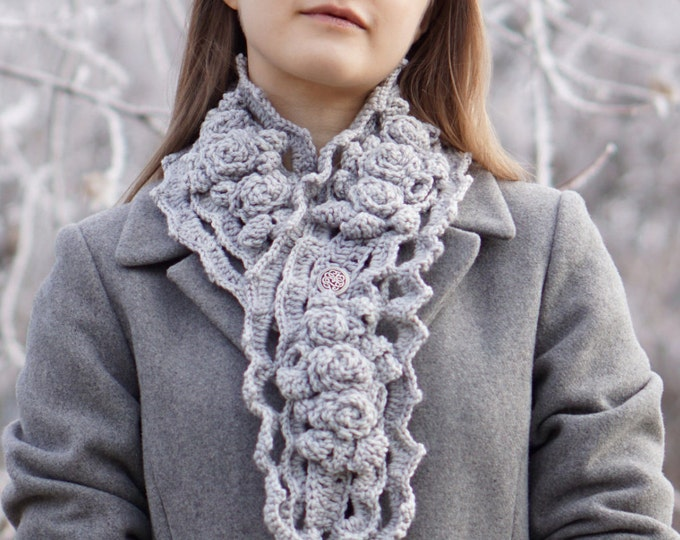 Gray Rose Scarf, Elegant Rose Scarf, handmade scarf in a gray, handpainted Merino Wool, Crochet Scarf, Rose Scarf