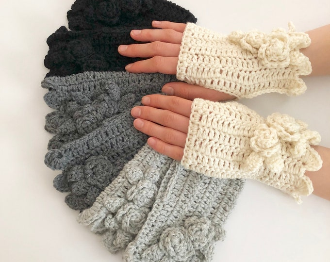 Rose Hand Warmers in 4 colours: ivory, gray, dark gray, black, Rose Onie Collection, hand painted merino wool, MADE TO ORDER
