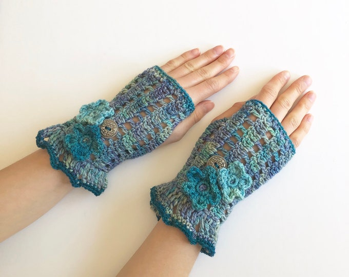 Floral arm warmers in blue with blue flowers, lace hand warmers, choose your colour, READY TO SHIP, hand warmers, cuff