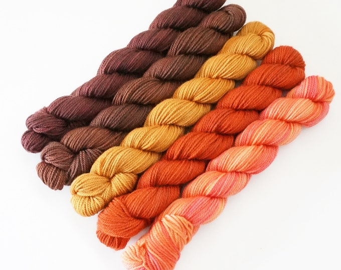 Merino Sock Yarn, Party of Five yarn by Sweetgeorgia Yarns, Hearth colour way of orange, gold, brown, 3 ply sock yarn merino wool
