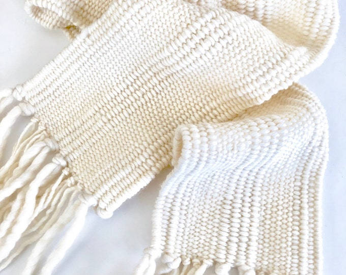 Ivory Woven Scarf, soft luxurious merino wool, hand woven scarf, woman's scarf, white scarf, ivory scarf, merino scarf