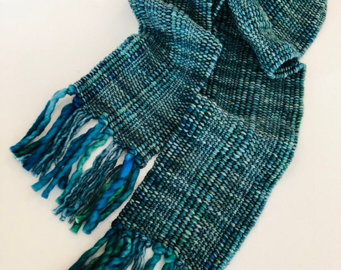 Teal Blue Green Woven Scarf, soft luxurio merino wool, hand woven scarf, woman's scarf, blue green scarf, green scarf, merino scarf