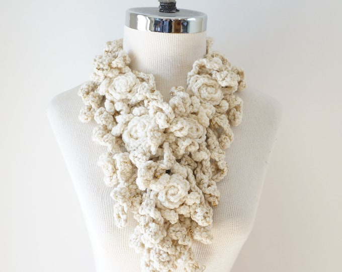 Sale Rose Scarf, Ivory and Gold Rose Onie Scarf READY to SHIP, one only, merino wool, silk, beads and sequins, elegant scarf