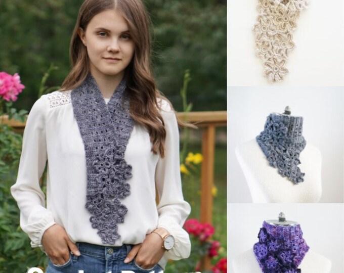 Floral Eyelet Scarf Crochet Pattern, Crochet Scarf Pattern, floral scarf pattern, crochet, crochet pattern, floral lace scarf pattern