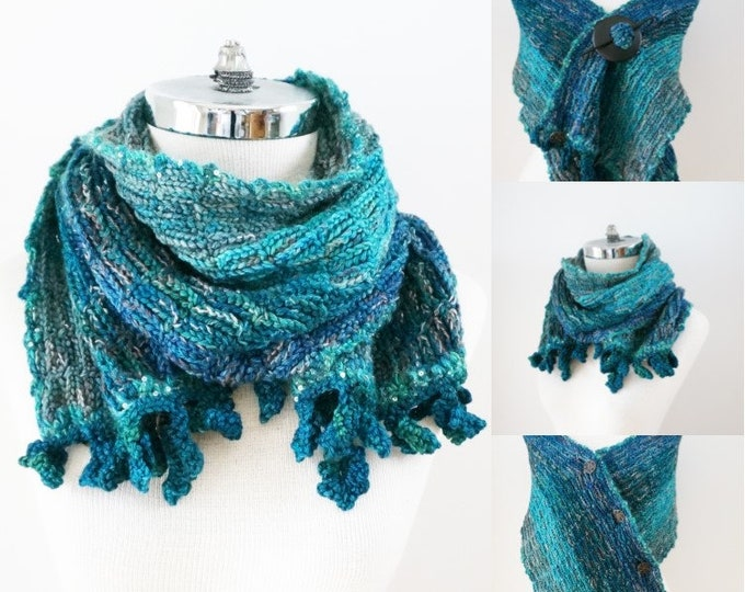 Blue Lace Shawl Scarf, Lace scarf, Free Shipping, Blue merino wool, ONE ONLY, Ready to ship, elegant lace scarf, beautiful leaf trim, scarf
