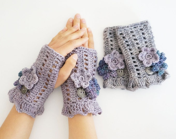 Floral Bliss hand warmers, arm warmers, in mauve or gray with various elegant flowers, floral arm warmers, floral hand warmers, cuff