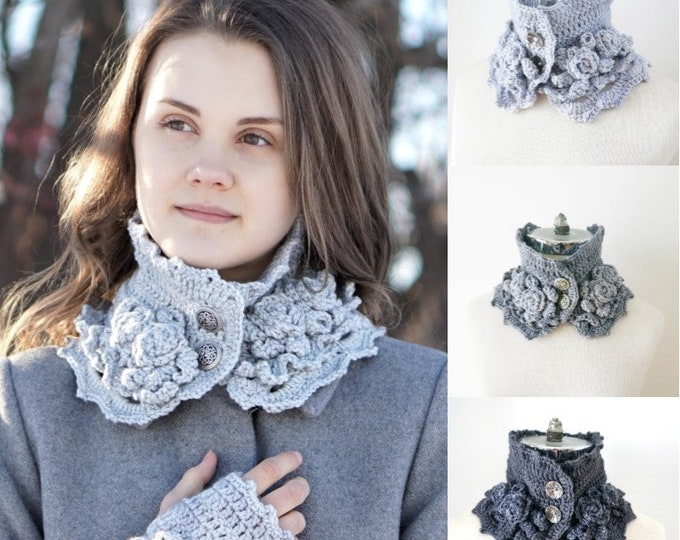 Elegant Rose scarf, available in 3 colours of gray, READY to SHIP, 1 of each is available, light gray, mauve gray, medium gray and dark gray