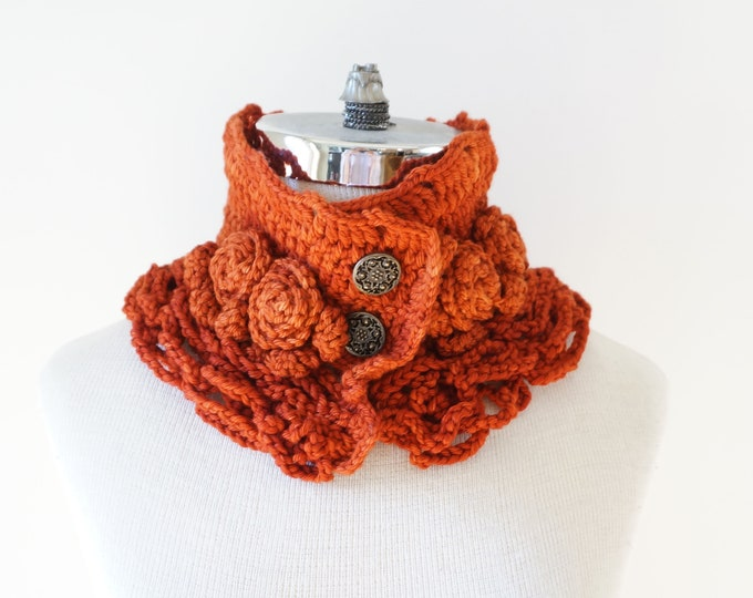 Sale Rose Scarf in orange hand painted merino wool, rose scarf, woman's scarf, elegant scarf, rose collar scarf, neck warmer, roses, orange